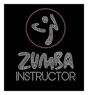 http://www.rhinestonedillo.com/Zumba-Instructor-Rhinestone-Transfer_p_8.html  Very clean lines, no sloppy work here! Zumba Instructor design big enough for shirt or hoodie.