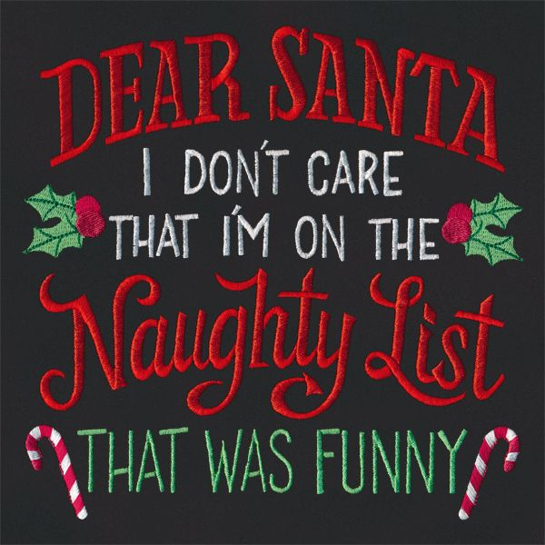 I Don't Care That I'm On the Naughty List | Urban Threads: Unique and Awesome Embroidery Designs