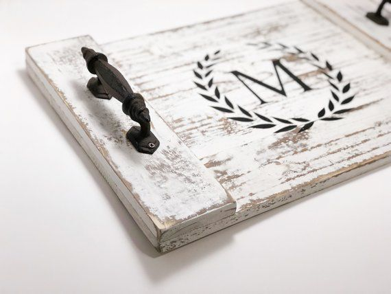 Rustic Monogrammed Serving Tray Rustic Coffee Table Tray