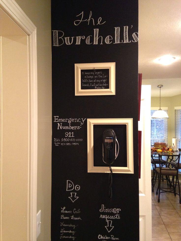Chalkboard wall in kitchen house ideas pinterest for Kitchen chalkboard designs