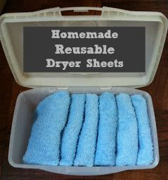 Homemade Reusable Fabric Softeners.  This is a great idea.  Just buy washcloths and you can check the dollar store for a container to store them in.  Buy your softener on sale and you're all set.