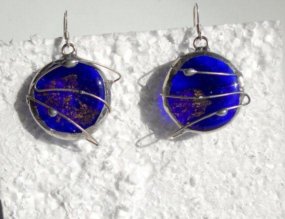Unmissable! 25% OFF Until 31/10 #jewelry #glassjewel #etsyfinds #artisan #glass #giftidea #moda #originalBlue spatial earringsartisan earringsfused glass by Dartisanglass