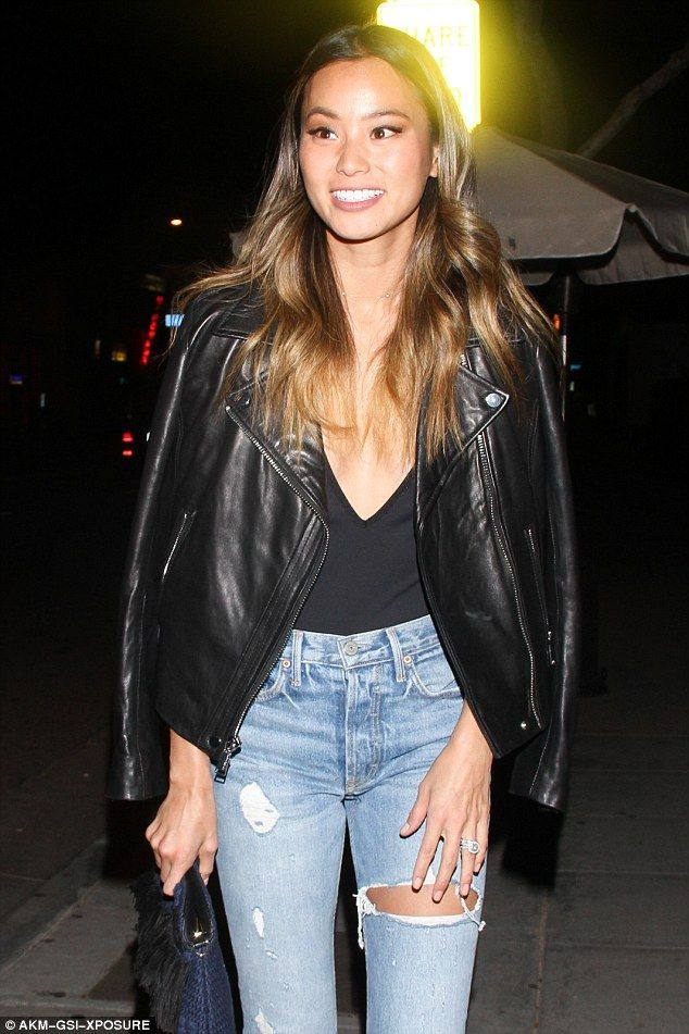 5dd8676eac44 Jamie Chung rocks extremely low-cut one piece