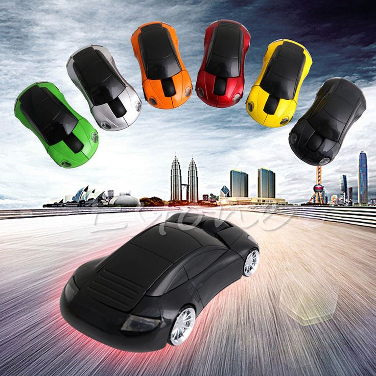 Moda 2.4 GHZ 1600 DPI Ratón Inalámbrico Receptor USB Luz LED Super Porsche Coche Forma Ratón Óptico Con Pilas (no incluido)