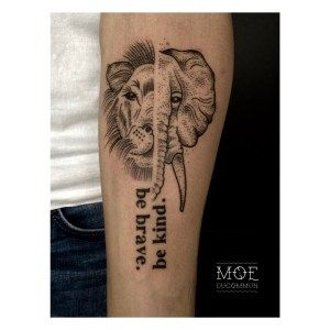 Tattoo The Vegan World-Traveller -- Vegan Tattoo, Elephant, Lion, Be Brave Be Kind