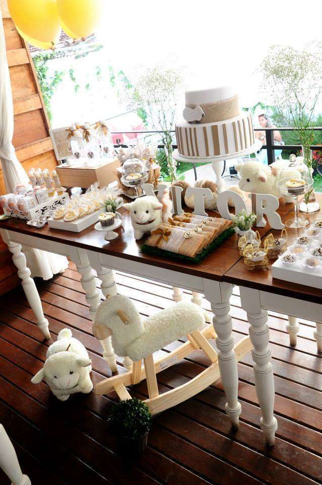 Lambs Baby Shower Party dessert table! See more party planning ideas at CatchMyParty.com!