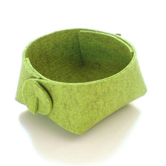 Felt organizers - easter baskets - catch all - bedside table tray - desk organizer - spring green, mustard yellow, soft blue
