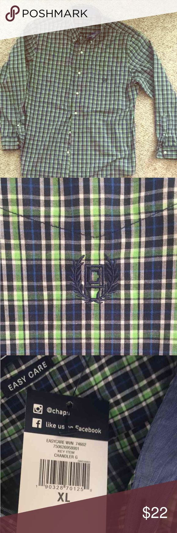NWT! Men's Chaps Shirt (XL) Brand New! Men's Chaps Shirt. Excellent Condition! Chaps Shirts Casual Button Down Shirts
