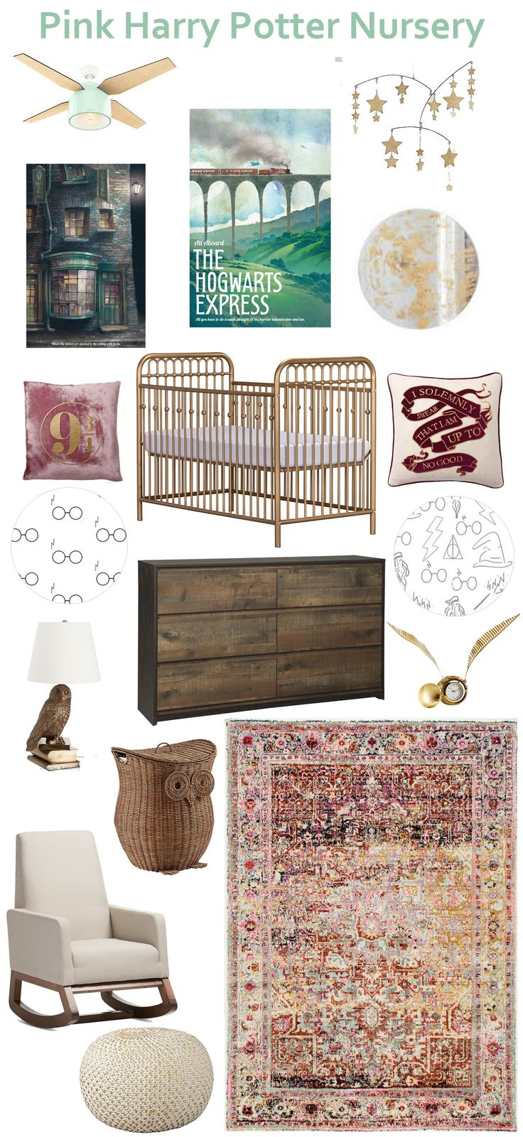 Adorable pink, gold, and green Harry Potter nursery inspiration using accessories from PB teen's new Harry Potter line along with art and linens from Etsy!