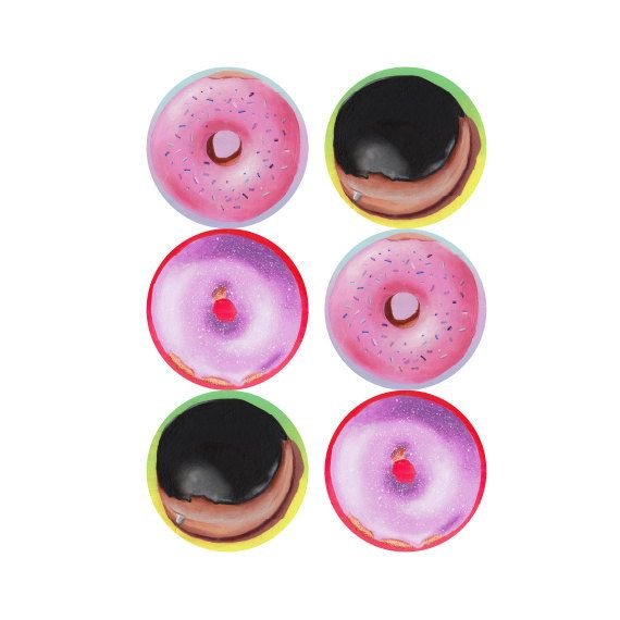 "Boston Cream, Homer Donut, Purple Donut Stickers (6 x 1.5"" glossy vinyl)"
