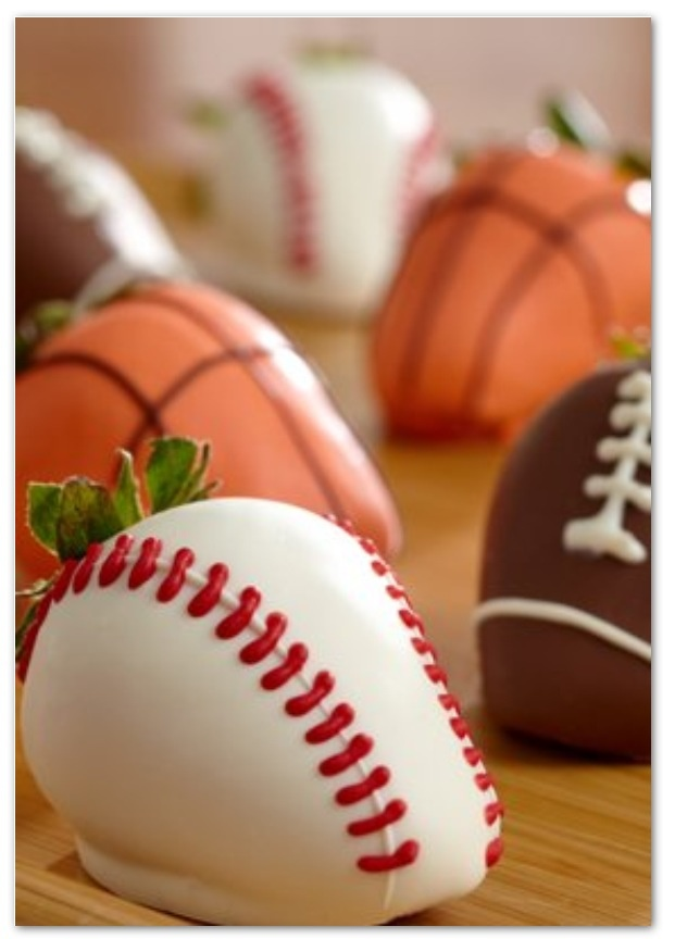 Sports Themed Chocolate Covered Strawberries. So cute!!