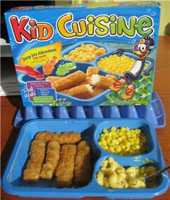 Kid Cuisine cartoon graphics always worked. My kids always begged for these