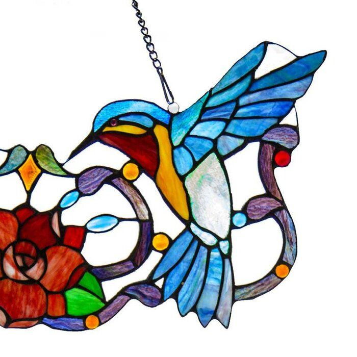 Hummingbird Floral Tiffany Style Stained Glass Window Panel In 2021 Glass Art Pictures Glass Art Projects Glass Wall Art