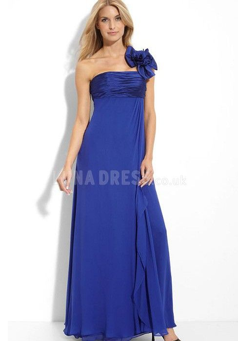 Sexy One Shoulder Chiffon A line Empire Evening Party Dress