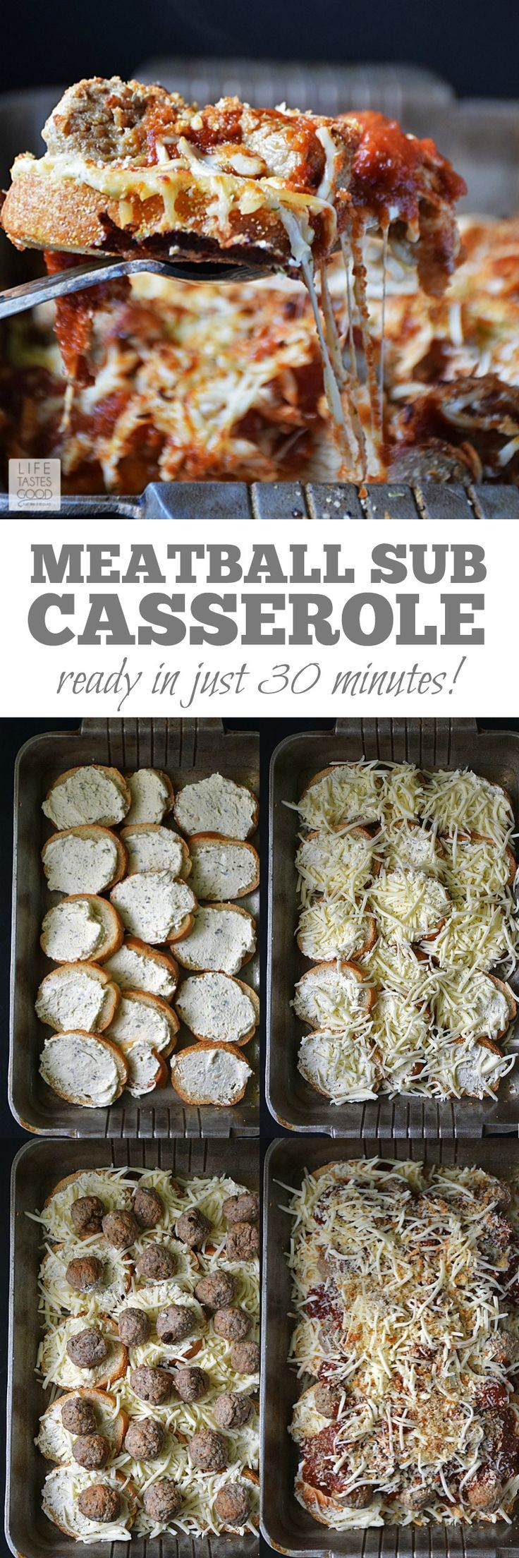 Easy to make, saucy, and cheesy, this Meatball Sub Casserole   by Life Tastes Good is a family favorite dinner that's on the table in just 30 minutes! #LTGrecipes