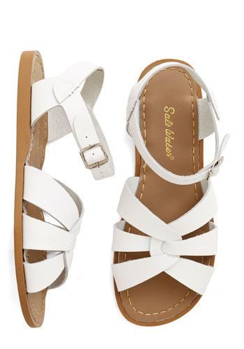 Outer Bank on It Sandal in White. A sunny reception from your friends is a shore thing when you come dancing across the dunes in these stunning shoes by Salt Water Sandals! #gold #prom #modcloth