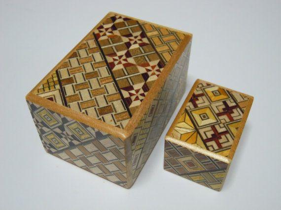Japanese Puzzle box (Himitsu bako)- The Nested box-2.8inch 5steps and 1.7inch 10steps Yosegi