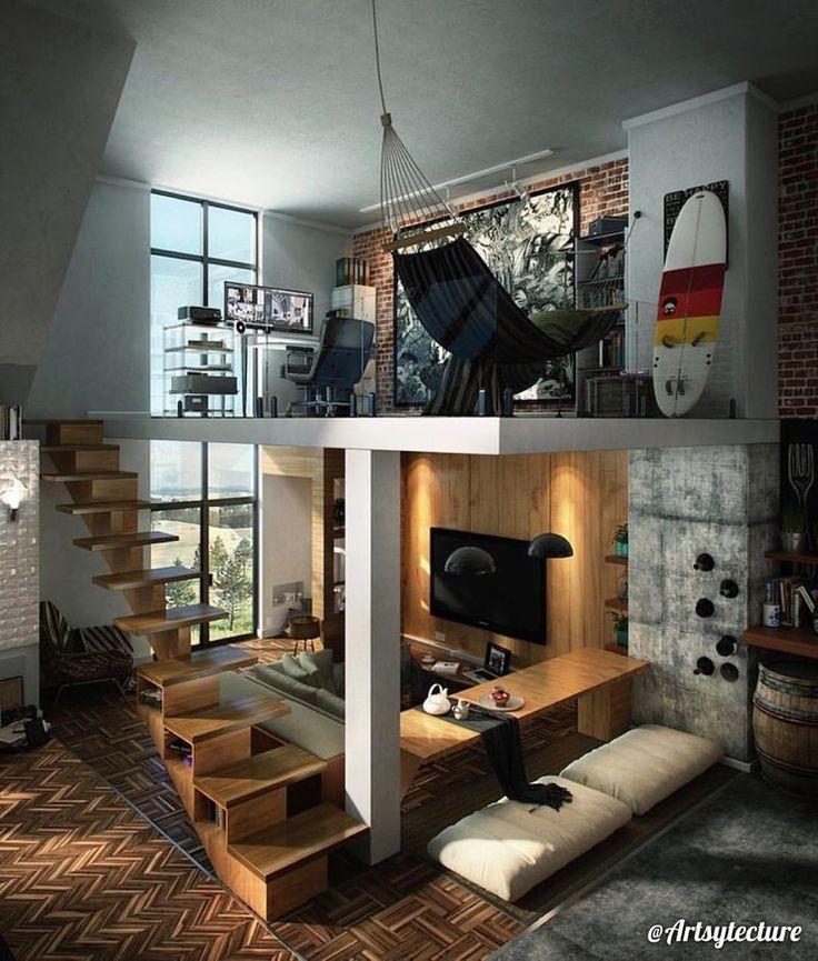"""ᗩᖇᑕᕼITEᑕTᑌᖇE & ᗪEᔕIGᑎ.  på Instagram: """"3D Loft Visualization By Peter Ang. © Check out @artsytecture ! Via~ Home-designing.com"""