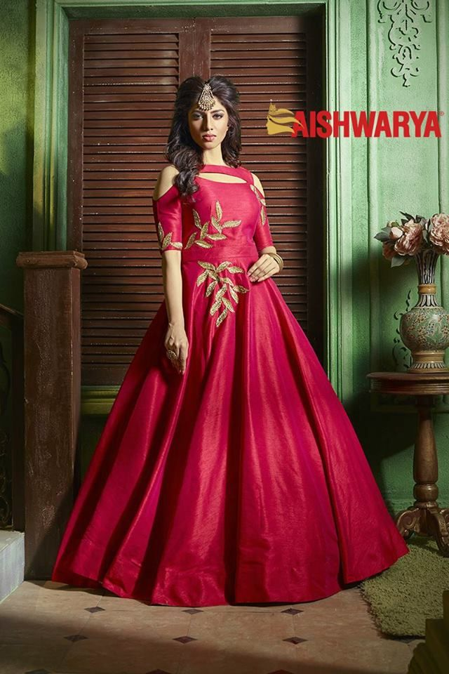 Flaunt the cold shoulder trend the desi way with this glorious anarkali. Buy now for a FLAT 15% off - http://www.aishwaryadesignstudio.com/catchy-deep-red-designer-anarkali-dress