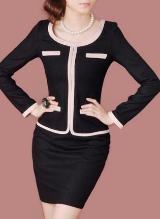 """Long-sleeved Wool Business Dress D49H,  Other, HEGO  Long-sleeved Wool Business Dress, Chic"" - Love the pink piping!"