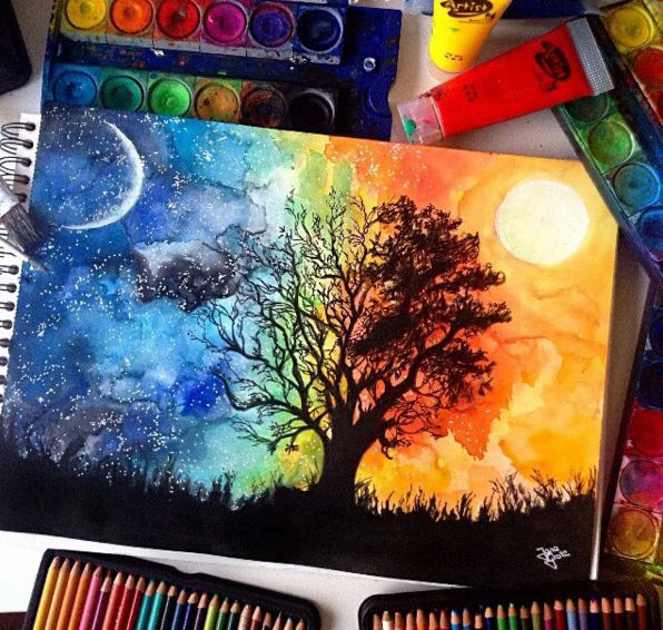 Image result for color pencil painting silhouettes