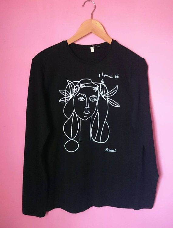 Unisex Picasso Sketch Long Sleeve Black Shirt by SolukWorkshop