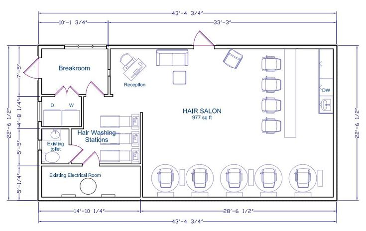 Hair salon floor plan a floor plan of a hair salon that for Beauty salon layout