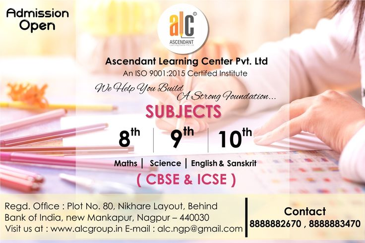 ALC institute provides Well experienced and result oriented Teachers for #Classroomcoaching at coaching center and #Privatetutors to teach students at student residence. We offer coaching for #8th to #12th (CBSE | ICSE | STATE board) class students for Science and Commerce all subjects at Nagpur location. Enquire for batch time and course syllabus @ALCGROUP  mankapur, Nagpur. Connect your call on 8888882670