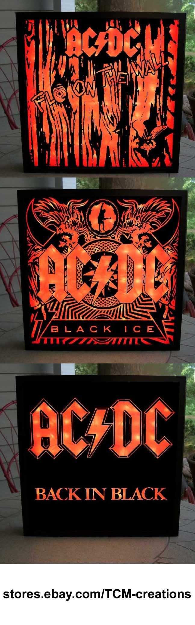 AC/DC Shadow Boxes with LED lighting.  Fly On The Wall, Jailbreak, Highway To Hell, Powerage, For Those About To Rock, Who Made Who, Heatseeker, Black Ice, Rock Or Bust, Ballbreaker, The Razors Edge, T.N.T., Let There Be Rock, Dirty Deeds Done Dirt Cheap, Powerage, Highway To Hell, Back In Black, Flick Of The Switch, Blow Up Your Video, Stiff Upper Lip, Bon Scott, Angus Young, Malcolm Young, Brian Johnson, Cliff Williams, Phil Rudd, Axl Rose