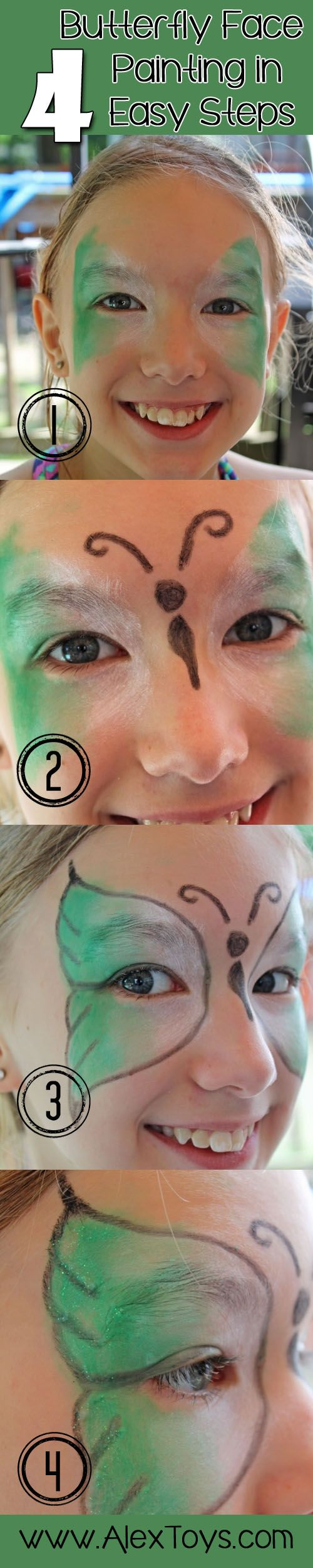 DIY butterfly #facepainting in 4 EASY steps! http://blog.alextoys.com/how-to-face-paint/ via @ALEX Toys by @Angie Knutson