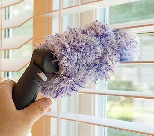 Big Microfiber Venetian Blind Duster | Easily Clean Narrow Slotted blinds | Dusts top and bottom simultaneously | Machine washable | Microfiber - dust sticks to it | Hand held or attaches to a pole | Swivel head (affiliate)