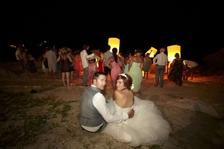 Fire lantern release on the beach - give the guests something to remember #farawayweddings #weddingsinthailand #pawanthornluxuryvillas