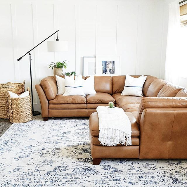 Cream With Blue Detail Rug/ Camel Leather Sectional: RC Willey