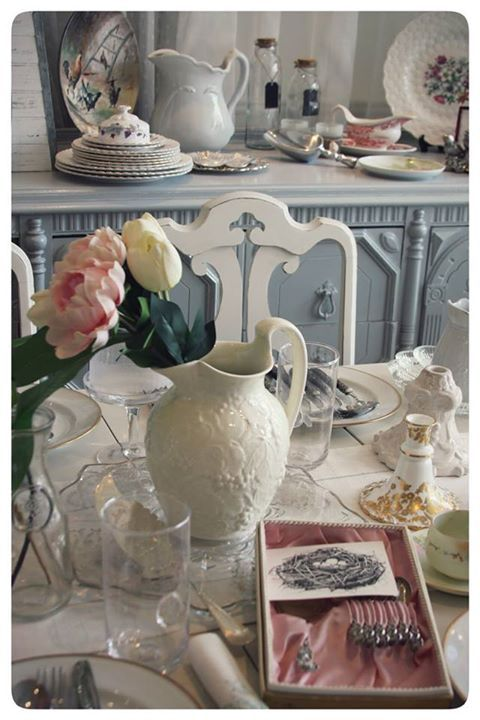 Pretty spring-inspired table setting. From our in-store display.