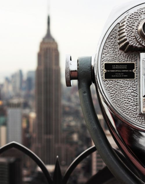 The Empire State Building from the observation deck of Rockefeller Center, NYC