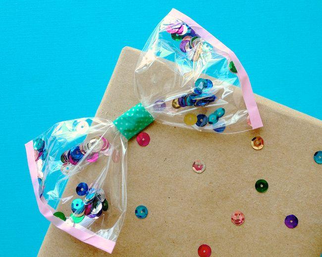 DIY Confetti Bows :: fun gift wrap idea