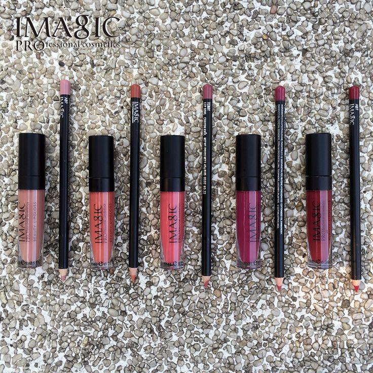 IMAGIC Kecantikan Matte lip set Pelembab Tahan Lama Tahan Air Matte Lip Gloss Merek Makeup Lip gloss + Lipliner Pensil