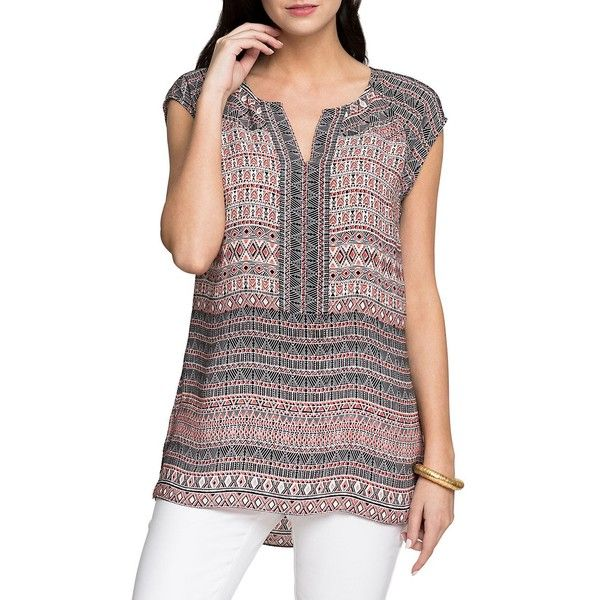 """From the Wild Thing Collection Woven blouse with placed pattern Split neckline Raglan cap sleeve Side slits Polyester Hand wash Imported Model shown is 5'10"""" (…"""