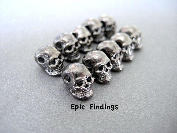 10pc pistola metallo teschio grigio Perline Charms di EpicFindings