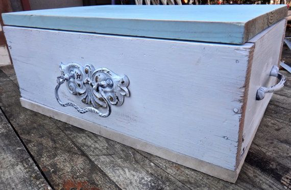 White Tea Box Rustic Storage Box Painted Wooden by CasaKarmaDecor