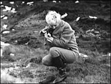 A photograph taken by Ian Brady of Myra Hindley with her dog, Puppet, crouching over John Kilbride's grave on Saddleworth Moor in November 1963.