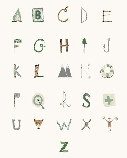 ABC with camping theme by Danielle Kroll. Perfect, way to incorporate letters into the classroom.