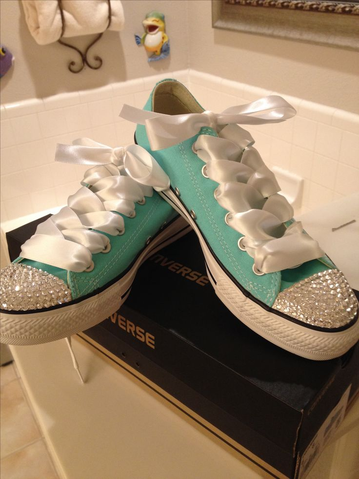 Aruba blue converse with Swarovski crystals and white satin ribbon... Simplyfrosted bling on Facebook to order