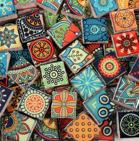 Fun bright colors of ceramic tile pieces used for mosaic art, jewelry or mixed media projects. Tiles measure from approx 1/2 x 1/2  across & approx 1/4 thick All pieces are flat on the back Approx 90 pieces - .25 square feet of tiles Sanded or unsanded grout can be used Not recommended for outdoors (unless you are planning to seal the project) Made in the USA WB-C-21