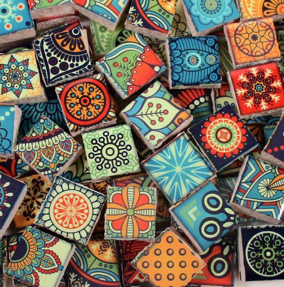Keramische mozaïek tegels  heldere kleuren medaillons