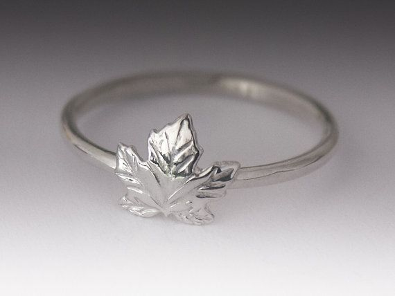 Maple Leaf Ring  Stackable Sterling Silver Maple Leaf by BINSTER, $22.00