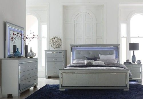 4 PC Homelegance Allura Collection Queen Size Bedroom Set with LED Lighting 1916-1 - LIMITED TIME PRICING