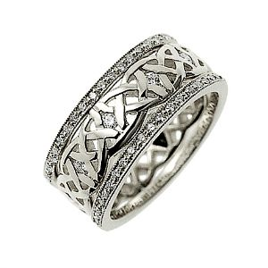 Our Dreams Diamond set Celtic ring shown here in palladium