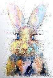 Sunset Rabbit watercolour & pen painting by Sophie Appleton / www.sixfootsophie.co.uk ♥•♥•♥