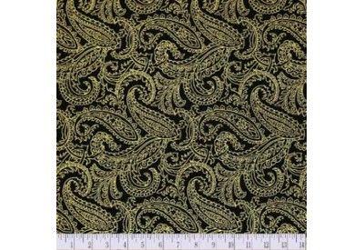Tecido preto com arabesco dourado grd.